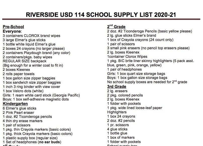 2020-2021 Riverside USD 114 School Supply List