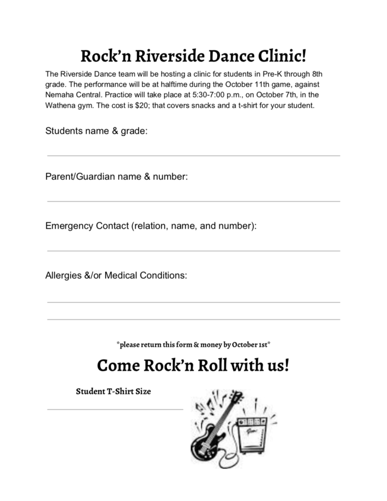 Dance clinic form