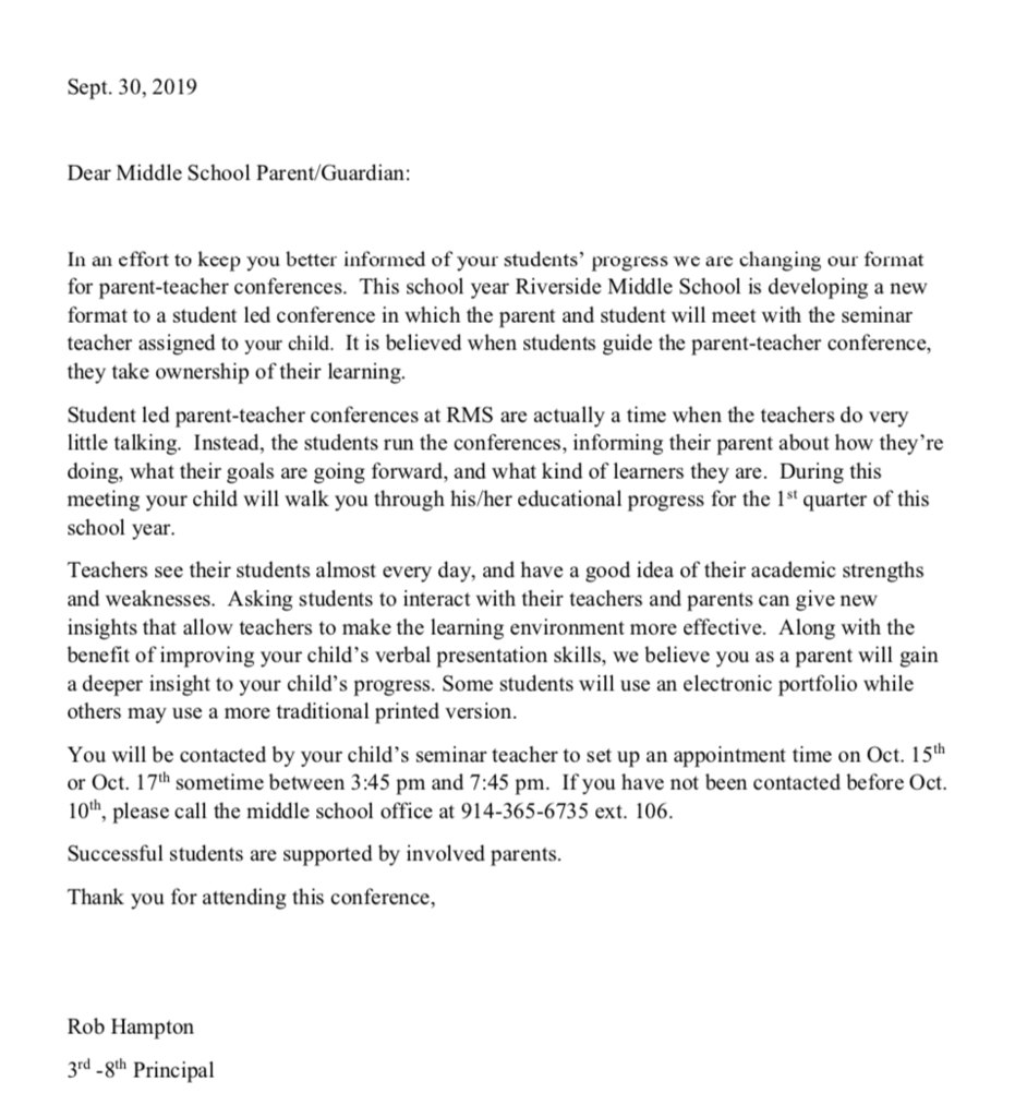 Middle School conferences letter