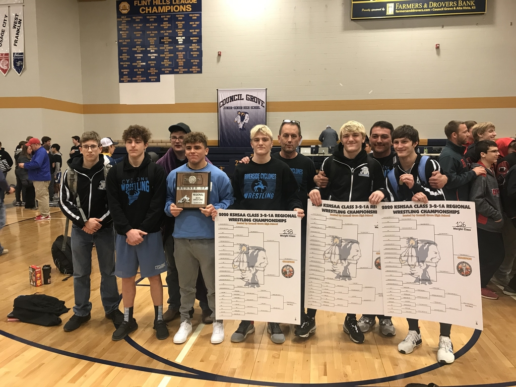 Cyclone wrestling finishes 2nd in Regionals behind Regional Champions Hayes, Horn, and Horn. Also qualifying for state Geeting and Barron with 3rd place finishes. Coach Tim Resler was also pocked by his peers as regional coach of the year. Awesome weekend for the wrestlers!