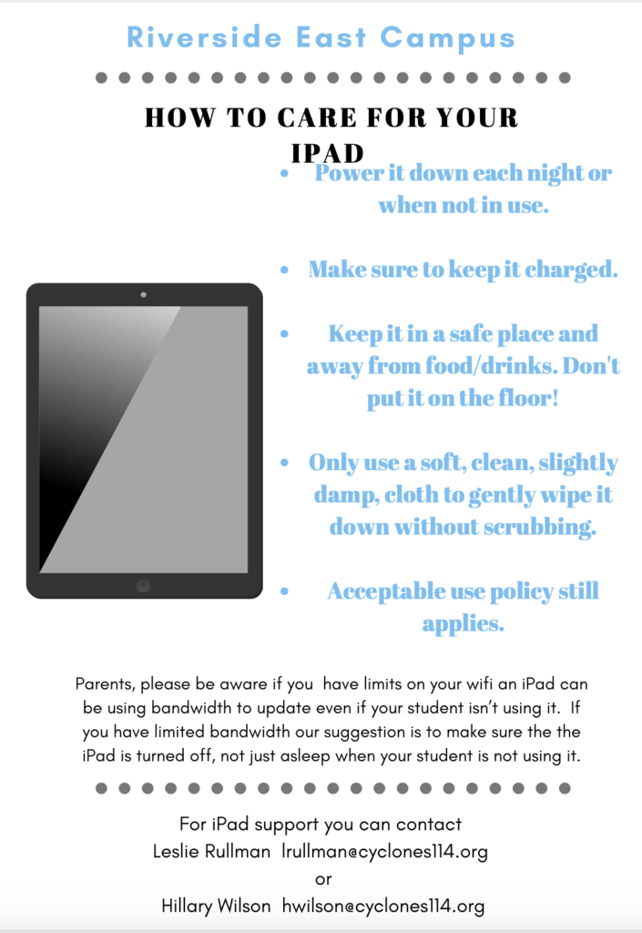 iPad care sheet